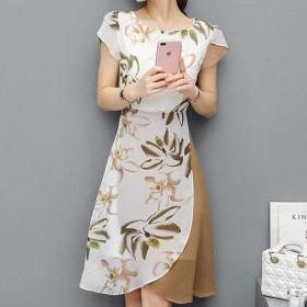 夏装雪纺印花时尚显瘦百拼色不规律中长款连衣裙春秋