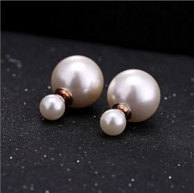 豆豆耳钉气质双面珍珠防过敏韩版个性耳环白色