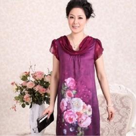 连衣裙丝缎中国风数码印花手绘显瘦中老年宽松大码女装