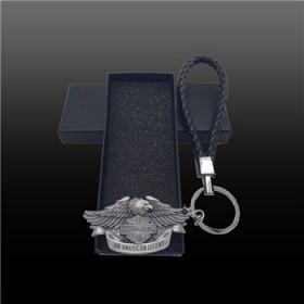 哈雷摩托标志超帅骷髅头鹰纯金属挂件汽车钥匙扣创意礼