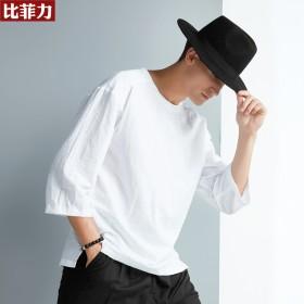 比菲力亚麻T恤男七分袖宽松蝙蝠衫中国风棉麻男装