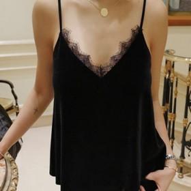 黑色性感短款V领睫毛蕾丝内搭吊带衫金丝绒吊带背心打