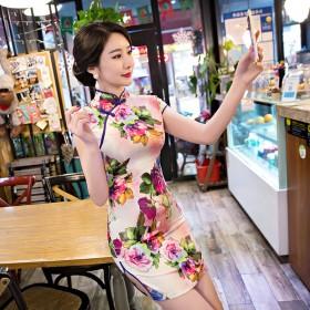 气质优雅短款日常改良优雅淑女旗袍连衣裙多款可选