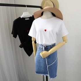 刺绣爱心短袖t恤女纯棉宽松简约韩版圆领常规学生上衣