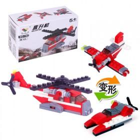 可变形积木玩具益智男孩拼装直升机早教组装儿童工程车