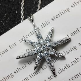 日韩版 米字吊坠镶钻项链 简约时尚气质锁骨链女