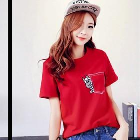 韩版时尚大码宽松显瘦圆领刺绣T恤女短袖好质量不起球