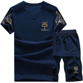 春季男士短袖T恤运动套装