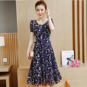 韩版时尚修身显瘦甜美淑女雪纺短袖碎花中长款连衣裙