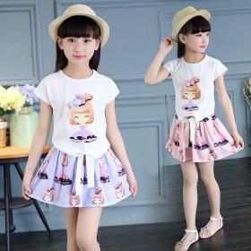 女童套装2017夏装新款花花姑娘裙子中大儿童装两件