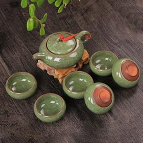 七彩冰裂茶具茶杯套装陶瓷功夫茶具整套紫砂茶壶礼盒