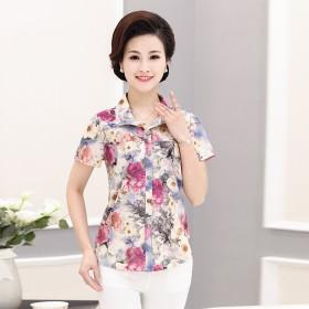 中老年女装夏季衬衣妈妈装衬衫短袖中年上衣老年人