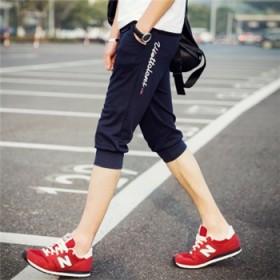 夏季薄款七分男裤修身运动裤潮中裤男士沙滩裤休闲短裤