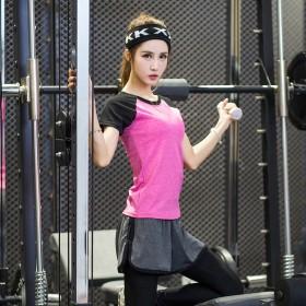 春夏瑜伽服速干运动套装女两件套上衣加裤子
