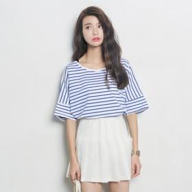 2017春夏新款女装圆领纯棉条纹T恤女韩版上衣