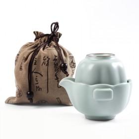 汝窑快客杯一壶一杯旅行功夫小套装茶具