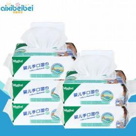 5包100抽婴儿湿巾带盖专用宝宝湿巾纸纯棉