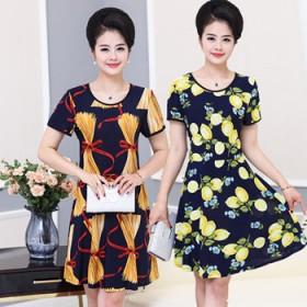 妈妈连衣裙夏季中长款中老年女装短袖长裙
