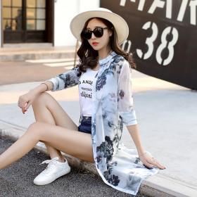 沙滩防晒衣女韩版中长款雪纺印花开衫空调衫披肩