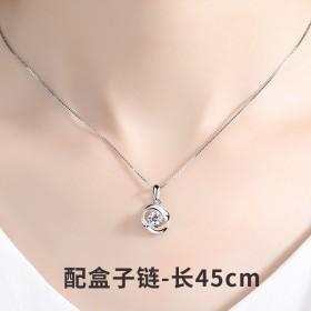 S925纯银 玫瑰花银项链吊坠饰品