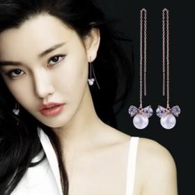 蝴蝶结珍珠长款耳线