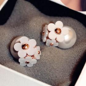 韩国时尚可爱小雏菊花朵珍珠耳钉前后双面气泡耳环