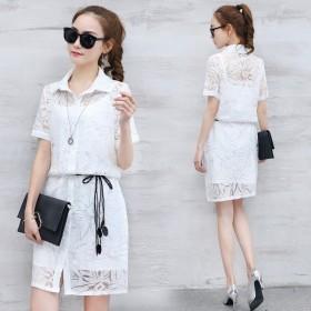 2017春夏季新款女装韩版蕾丝衣服裙子两件套气质