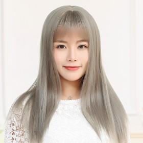 假发女长直发齐刘海蓬松直发中长款韩式空气刘海长发