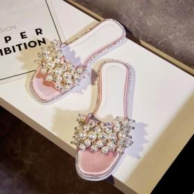 2017夏季新款女士珍珠拖鞋绸缎面料