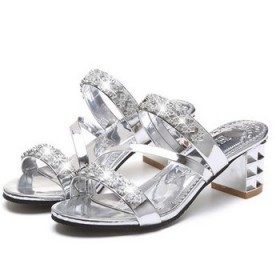 性感时尚中跟水钻凉拖鞋粗跟女鞋子