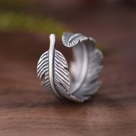原创设计羽毛复古开口戒指可调节男女戒