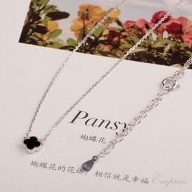 韩版甜美s925 黑玛瑙 迷你四叶草 纯银 项链