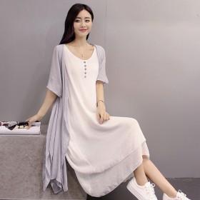 夏季新款棉麻连衣裙套装女宽松短袖开衫亚麻裙子两件套