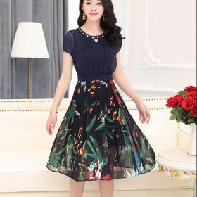 韩版印花雪纺时尚拉链中长款连衣裙春夏款2017新款