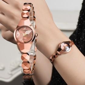 正品女士手表防水时尚潮流钨钢女款石英表玫瑰金手链