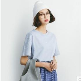 女士短袖t恤纯棉夏季宽松百搭圆领纯色刺绣爱心上