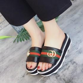 拖鞋女夏韩版厚底2017新款时尚休闲松糕底防滑外穿