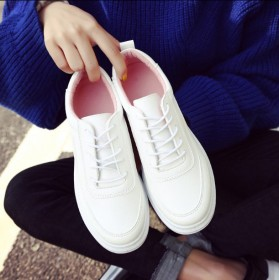 小白鞋韩版平底鞋系带休闲鞋单鞋纯色皮面松糕鞋女鞋潮