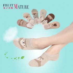 【5双装】纯棉浅口船袜女隐形袜薄款硅胶防滑短袜吸湿