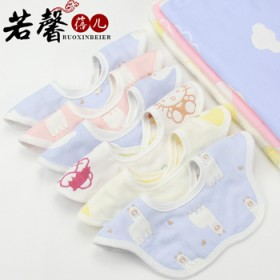 宝宝花朵型口水巾纯棉围嘴可旋转六层舒适柔软