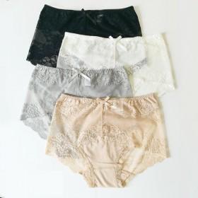 3条装女蕾丝内裤性感中腰底裤大码无痕透明网纱三角裤