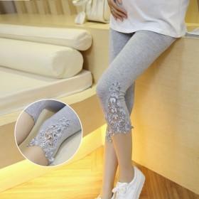 新款韩版孕妇打底裤七分裤夏季薄款纯棉托腹裤孕妇装百