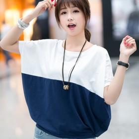 上衣夏季韩版大码女装宽松蝙蝠衫学生女士短袖T恤胖m