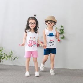 17新款韩版夏季儿童背心短裤套装纯棉男女童大中小童