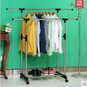 带轮不锈钢双杆晾衣架加厚晾晒架可伸长可调高挂晒衣架