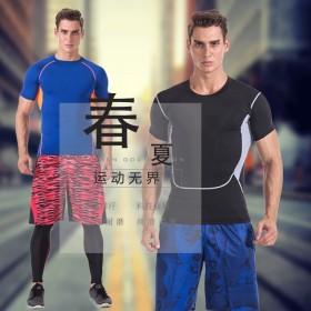运动服装男套装夏天跑步 健身房运动服套装紧身健身