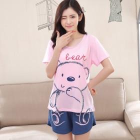 睡衣女夏短袖短裤可爱韩版薄款纯棉质夏天两件套