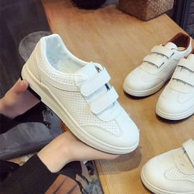 新款夏季透气镂空小白鞋女运动鞋平底增高休闲魔术贴白