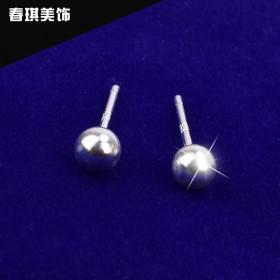 990足银圆球纯银耳钉