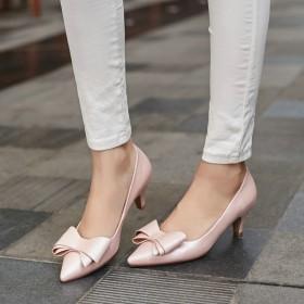 春季新款真皮中跟女鞋浅口低帮女鞋尖头单鞋